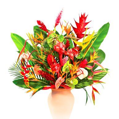 Une fleurs exotiques de la reunion ici l 39 atelier des fleurs for Bouquet de fleurs guadeloupe