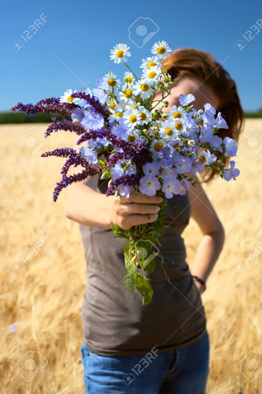 bouquet de fleurs des champs finest tubes bouquets fleurs des champs marguerites bleuets autres. Black Bedroom Furniture Sets. Home Design Ideas